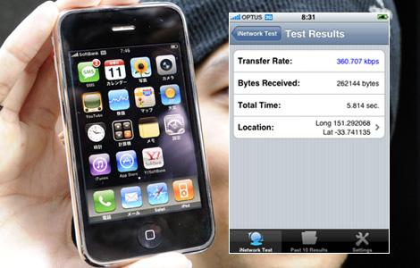 The iPhone 3G. Speed test